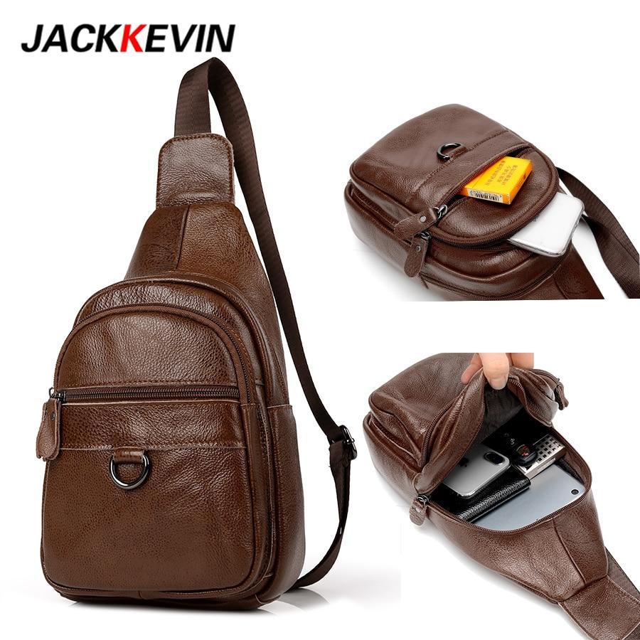 JackKevin 2018 Men Genuine Leather Crossbody Bags Cowhide Vintage Sling Chest Back Day Pack Small Messenger