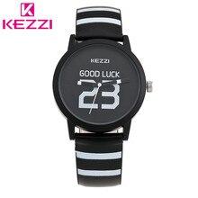 2016 K-1048 KEZZI Marca Moda Hombres Buena Suerte Cebra Línea de Reloj de Cuero Casual Negro Relogio masculino Regalo QuartzWristwatch KZ47