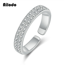 Ailodo Korean Fashion Opening Rings For Women Rose Gold Silver Color Crystal Femme Bijoux Party Wedding Jewelry Gift LD135