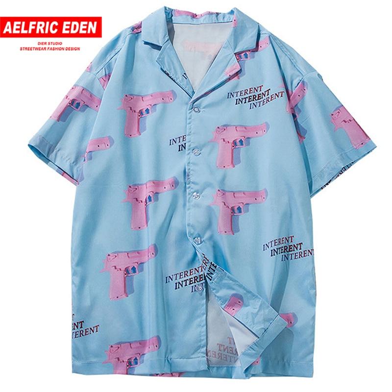 Aelfric Eden Turn-down Collar Shirts Men 2019 Summer Hawaii Style Pink Gun 3d Print Casual Streetwear Hip Hop Short Sleeve Shirt