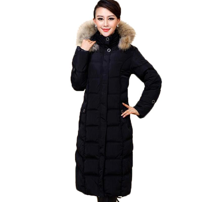 Plus Size XL-5XL Women Cotton Coat Fur Collar Hooded Warm Winter Wadded Jacket Women X-Long Thicken Outerwear Coats PW0795 2015 hot new thicken warm woman down jacket coat parkas outerwear raccoon fur collar luxury slim long plus size xl hooded splice