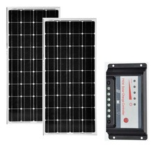 Kit Panneau Solaire 24v 200w Monocristallin 12v 100w 2 Pcs Solar Charge Controller 30A 12V/24V Camping Car Boat