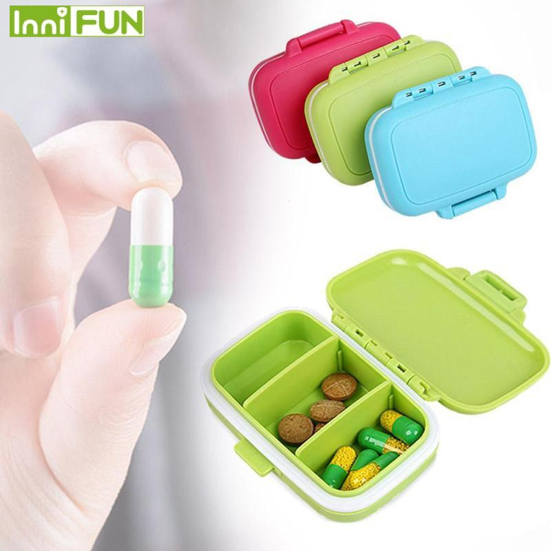 Портативный мини-контейнер для таблеток коробочки для лекарств 3 сетки путешествия дома спецодежда медицинская лекарств планшеты пустой к...