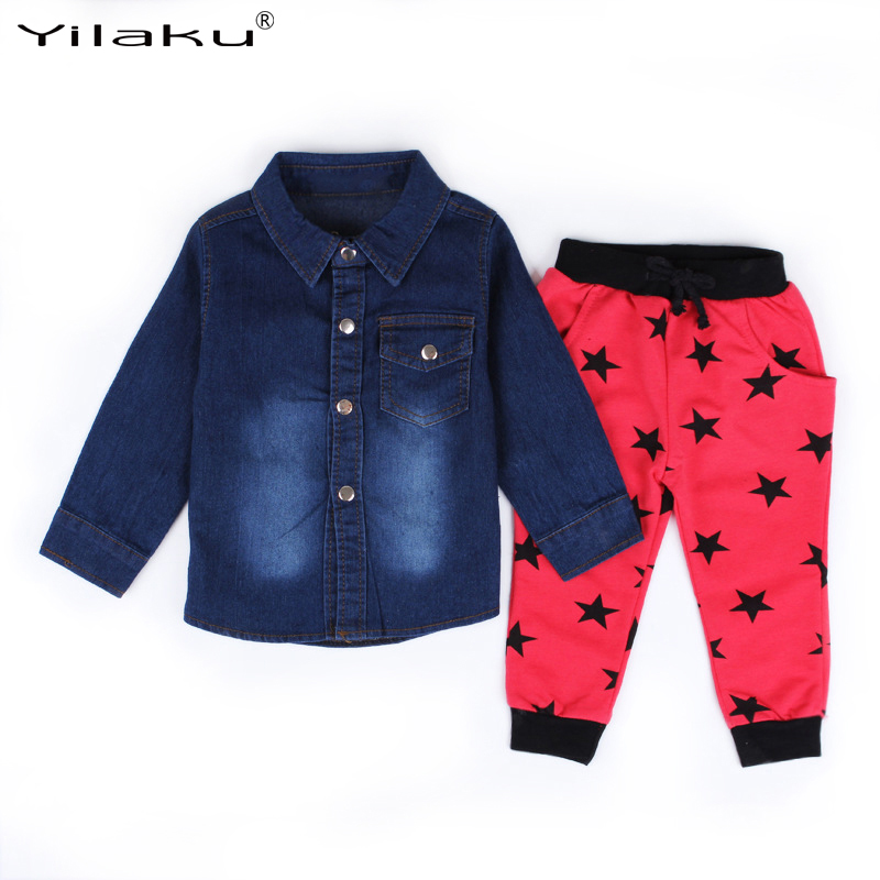3pcs/set Autumn Boys Clothing Sets Children Fashion Clothes Suits Boy Denim Jacket+T-shirt+Pants Outfits Kids Clothes Suit CF494 autumn winter boys clothing sets kids jacket pants children sport suits boys clothes set kid sport suit toddler boy clothes