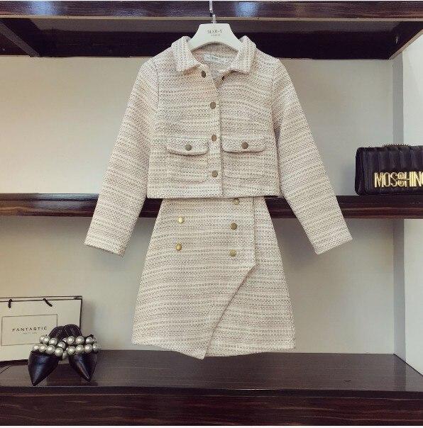 Et 2018 Manteau rose Nouvelle Mode À Taille D'hiver Deux Dames Court Laine Des En Manches Femmes Jupe Veste Haute Ensemble Gris Longues Pièces Automne wfftOxqg