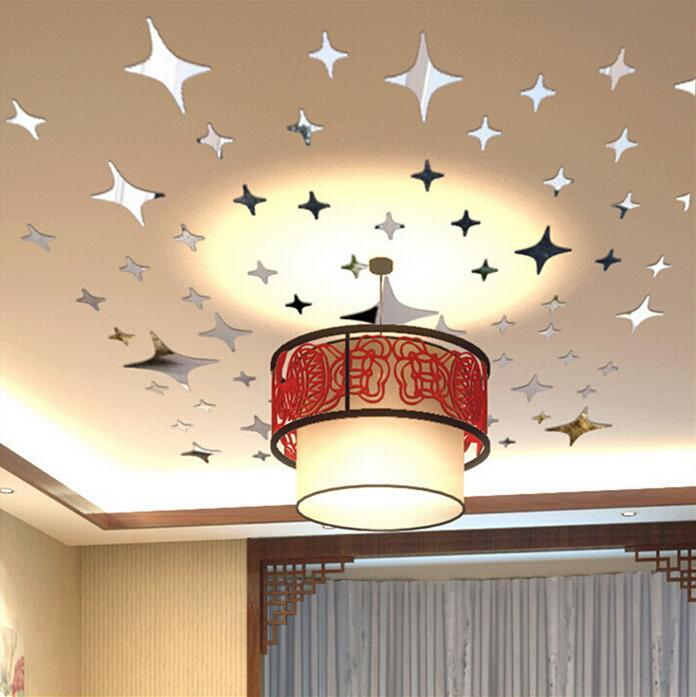 大44 pces星ミラーウォールステッカー天井装飾デカールアート壁画リビングルームウォールステッカー寝室浴室の家の装飾