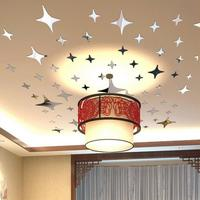 Large 44 Pces Stars Mirror Wall Sticker Ceiling Decoration Decal Art Mural Living Room Wall Stickers