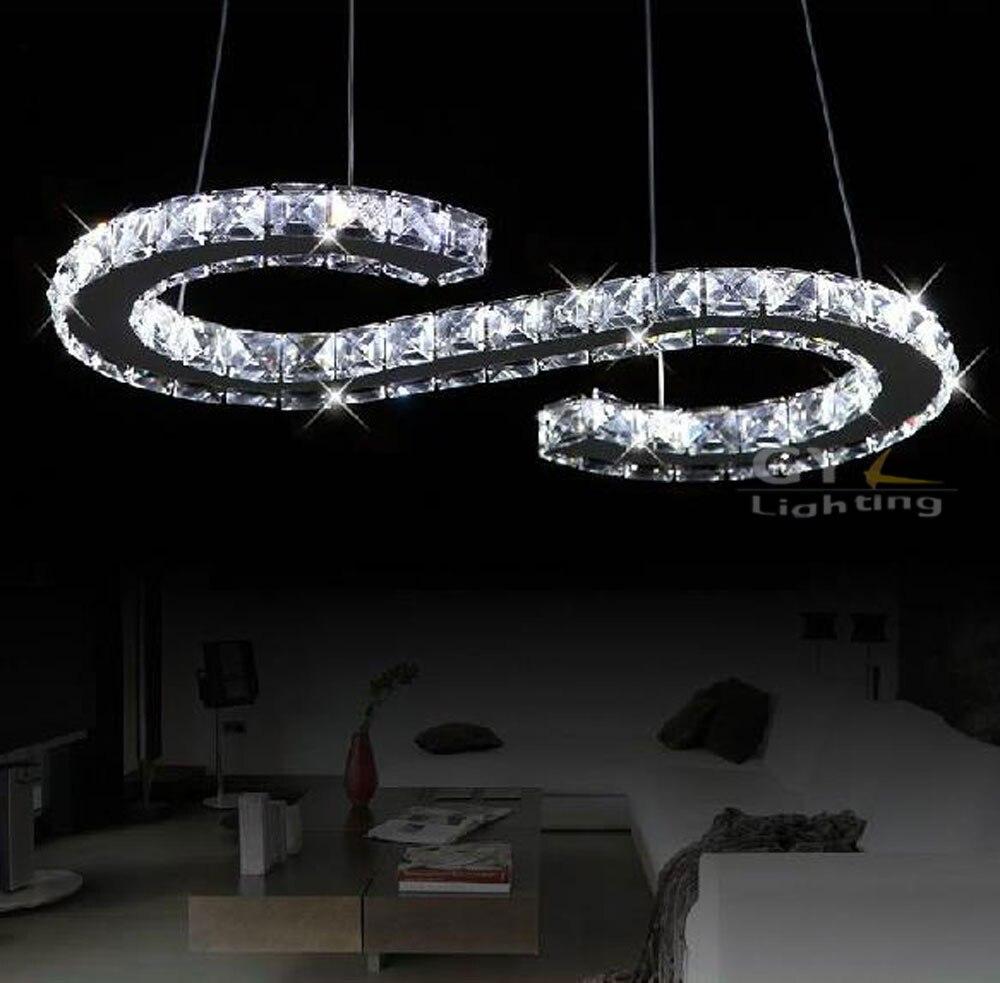 Ac110 220v 21 w s brief led kristallen hanglampen clear crystal moderne hanglamp lampadari moderni een