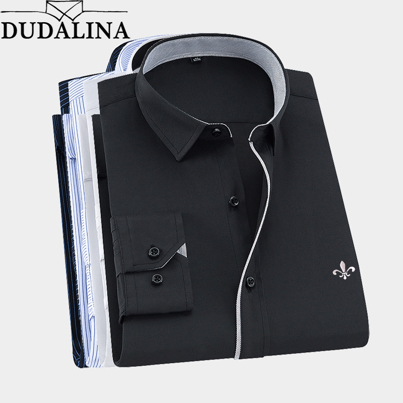 2019 Men Shirt Long Sleeved Camisa Social Masculina Classical Male Shirts Formal Business Shirt Man Embroidery Logo