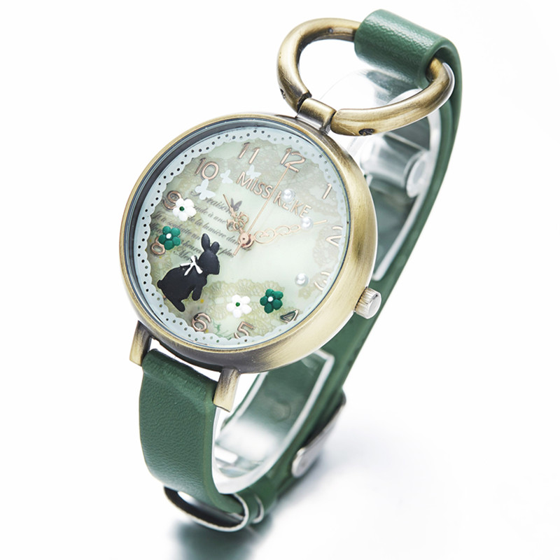Miss Keke Clay Cute Vintage Retro Rabbit Clock Gold Women Watch Ladies Woman High Quality Leather Rope Quartz Wristwatches 926