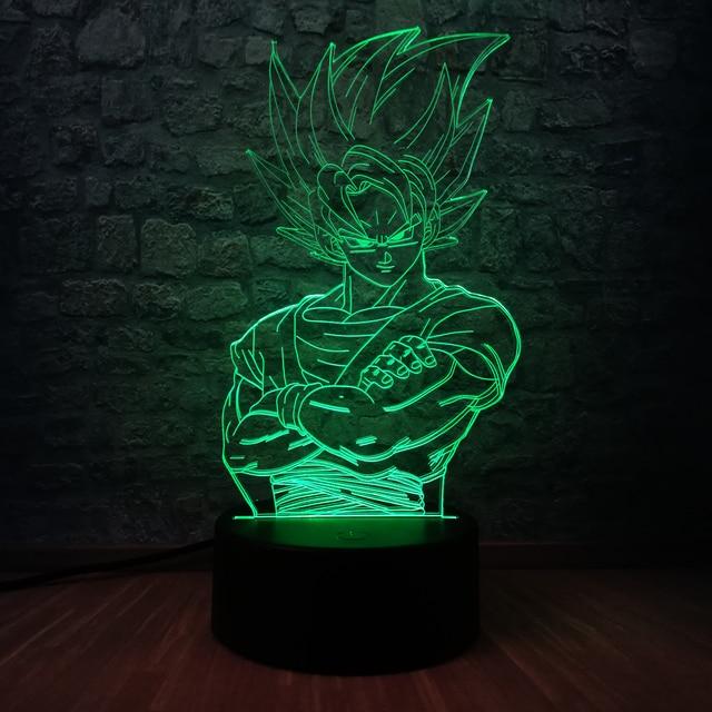Filho Bola Dragão de super-heróis Goko 3D USB CONDUZIU a Iluminação 7 Cores Mudança Ilusão Adolescente Mesa Sala De Crianças Decoração Presente do Dia Das Bruxas brinquedos