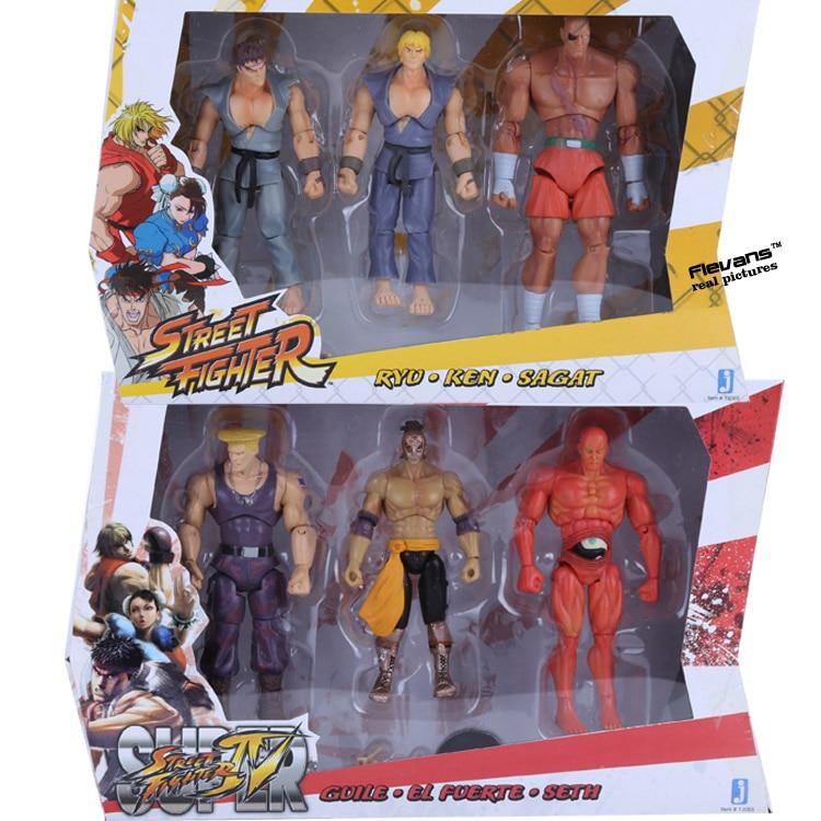 6pcs/set Street Fighter 4 Ryu Ken Sagat Guile EL Fuerte Seth PVC Action Figures Collectible Model Toys 10cm SFFG020 seth wp