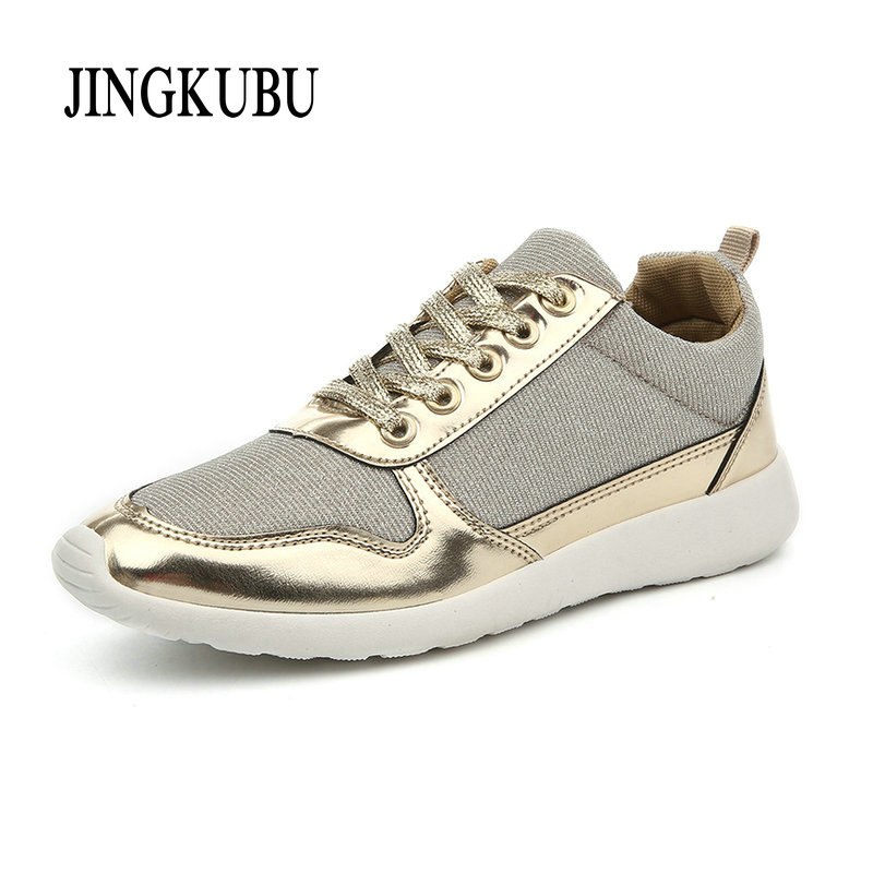 2016 New Women casual shoes Gold Silver mesh woman breathable fashion sport summer shoes plus size 36-41 kelme 2016 new children sport running shoes football boots synthetic leather broken nail kids skid wearable shoes breathable 49