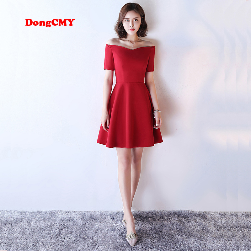 DongCMY 2018 new short desgin Mini Red color Women elegant party fashion plus size   Prom     dress