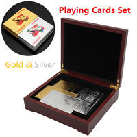 Best Deal Gold & Silver Playing Cards with Brown Poker Collection Wooden Box Set Best Gift Set For The Card Player