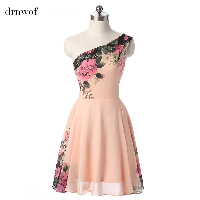 Hot cheap new 2017 pink chiffon short bridesmaid dresses for Wedding party dresses 2017