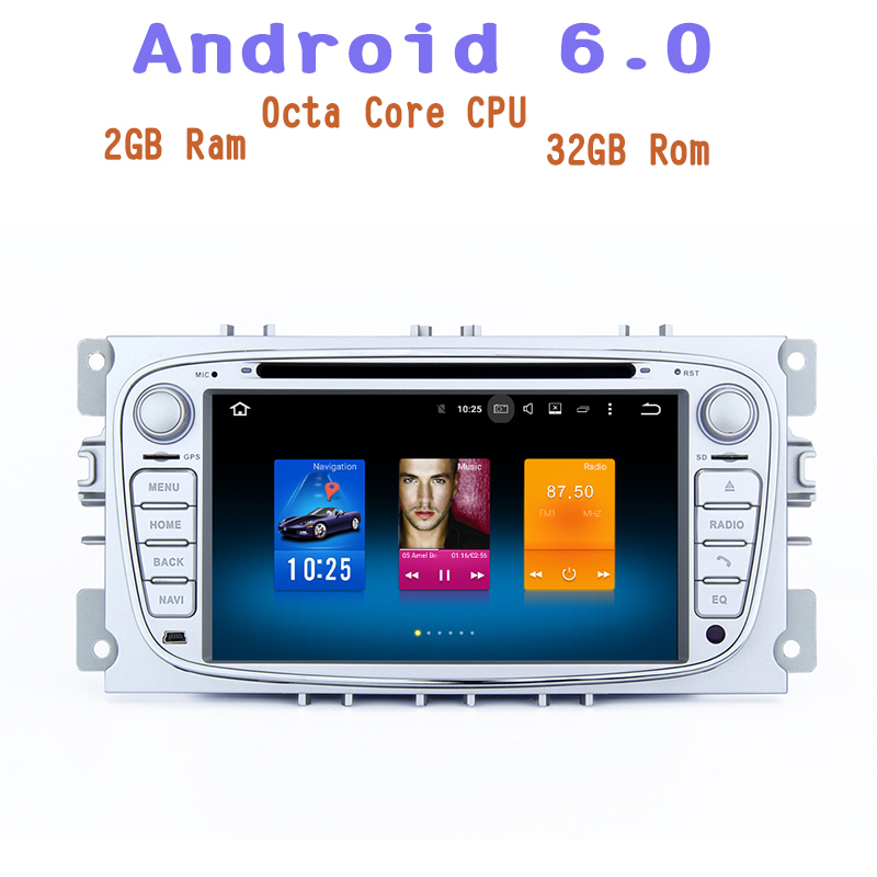 4G RAM Android 6.0 Octa Core Car dvd gps for Ford Focus 2 S-max Mondeo C-max with 1024*600 screen 4G wifi usb Stereo Auto Radio