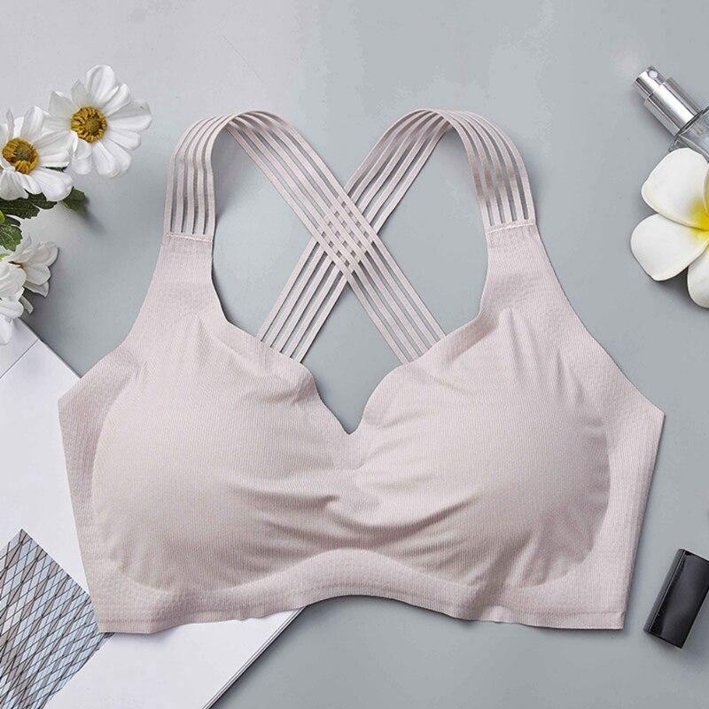 2019 Women Bras Wireless Fitness Underwear Seamless Beauty Back Push Up Bras Cross Back Straps Female Brassieres in Bras from Underwear Sleepwears