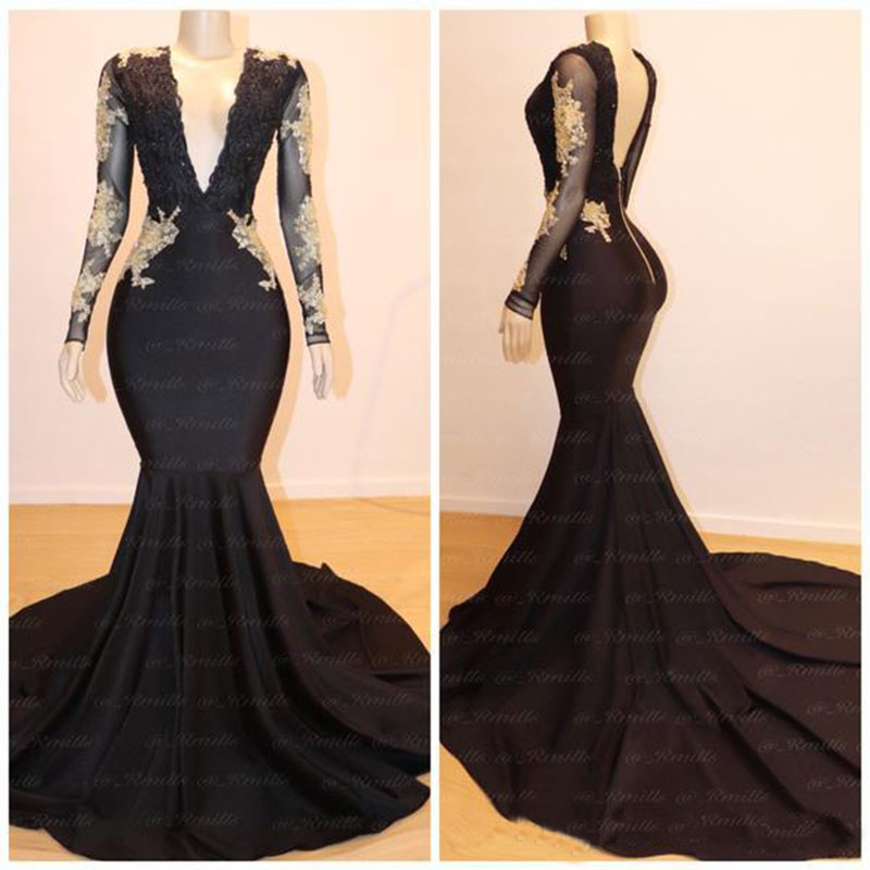 New Plus Size V-neck Gold Lace Appliques Black   Prom     Dresses   Mermaid Long Sleeves Evening Gowns with Sweep Train Party Gowns