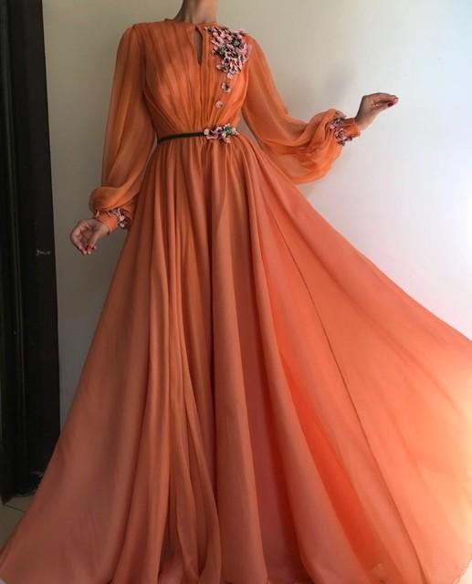오렌지 긴 소매 이슬람 이브닝 드레스 2019 a 라인 시폰 이슬람 두바이 사우디 아라비아 긴 저녁 가운 댄스 파티 드레스