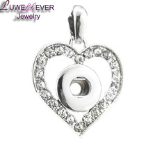 Vintage heart Metal Button Pendant Fit 12mm snap button watch Snap Button Charm Necklaces Jewelry For Women