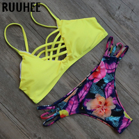 2016 Sexy Bandage Push Up Bikinis Biquini Summer Beach Bathing Suit Fashion Swimsuit Bikini Set Women