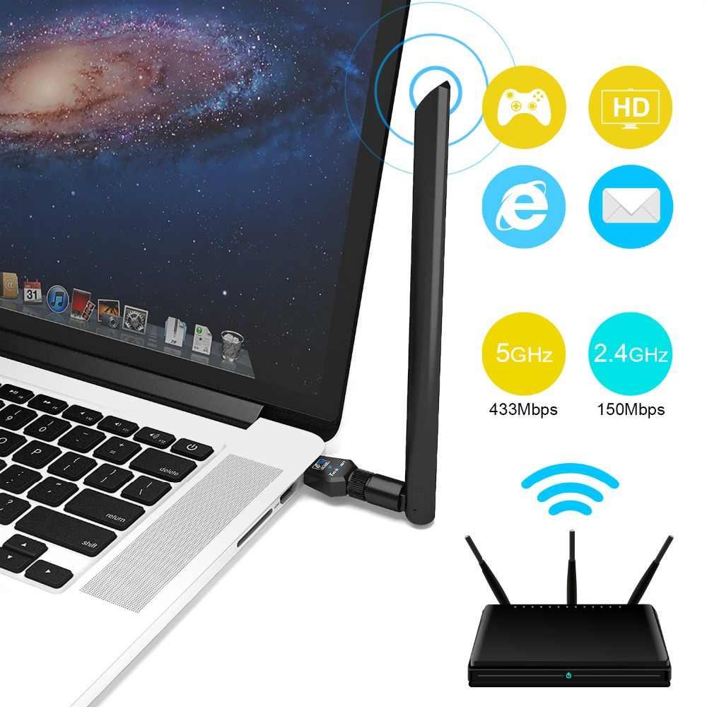 لاسلكي واي فاي هوائي محول TEROW AC600Mbps USB واي فاي محول بطاقة الشبكة واي فاي ثنائي النطاق 2.4G 5GHz 802.11ac/b/g/n