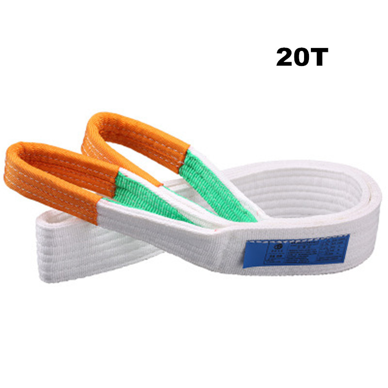 20T White Flat Lifting Webbing Sling Industrial High Strength Cargo Hoisting Belt Webbing Tape Belt Sling Fabric Strap