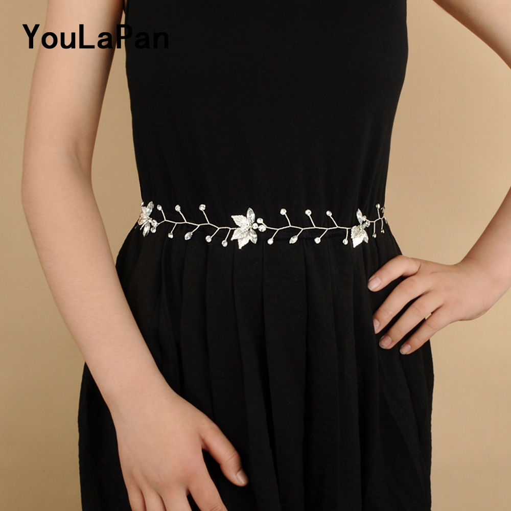 YouLaPan SH114 Sliver/Golden Leaves Rhinestone Belt For Evening Dress Belt Bridal Belts Wedding Dress Sash Belt Party Belts