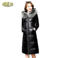Sheep leather Leather Women's Down jacket 2019 New Fashion High-grade Sheep leather Warm Hooded Women Genuine Leather LH341(China)