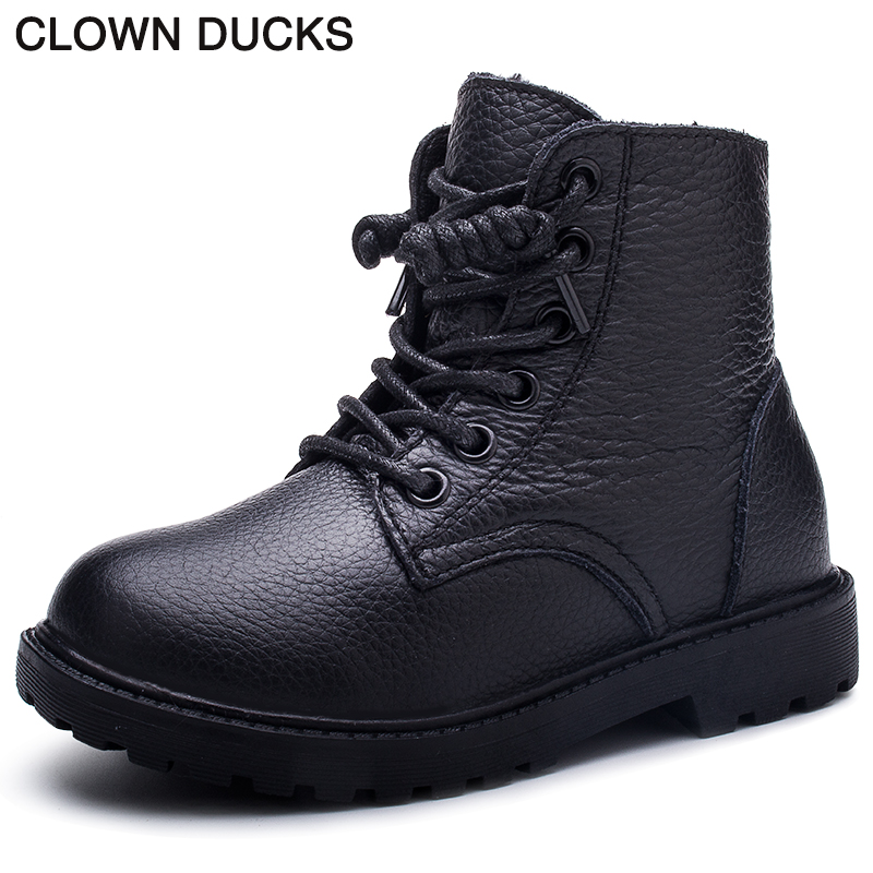 CLOWN DUCKS Brand Baby Boy Snow Boots Genuine Leather Winter Girls Boots For Kids Shoes Children Australia Ankle Boots 908