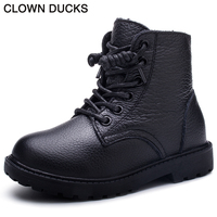 CLOWN DUCKS Brand Baby Boy Snow Boots Genuine Leather Winter Girls Boots For Kids Shoes Children
