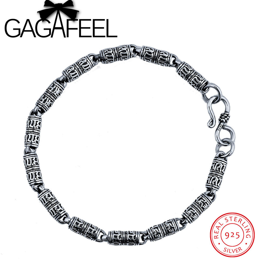 GAGAFEEL Genuine 100% Real Pure 925 Sterling Silver 5mm Men bracelet . Punk style Men jewelry .free shipping fine jewelry HYB1