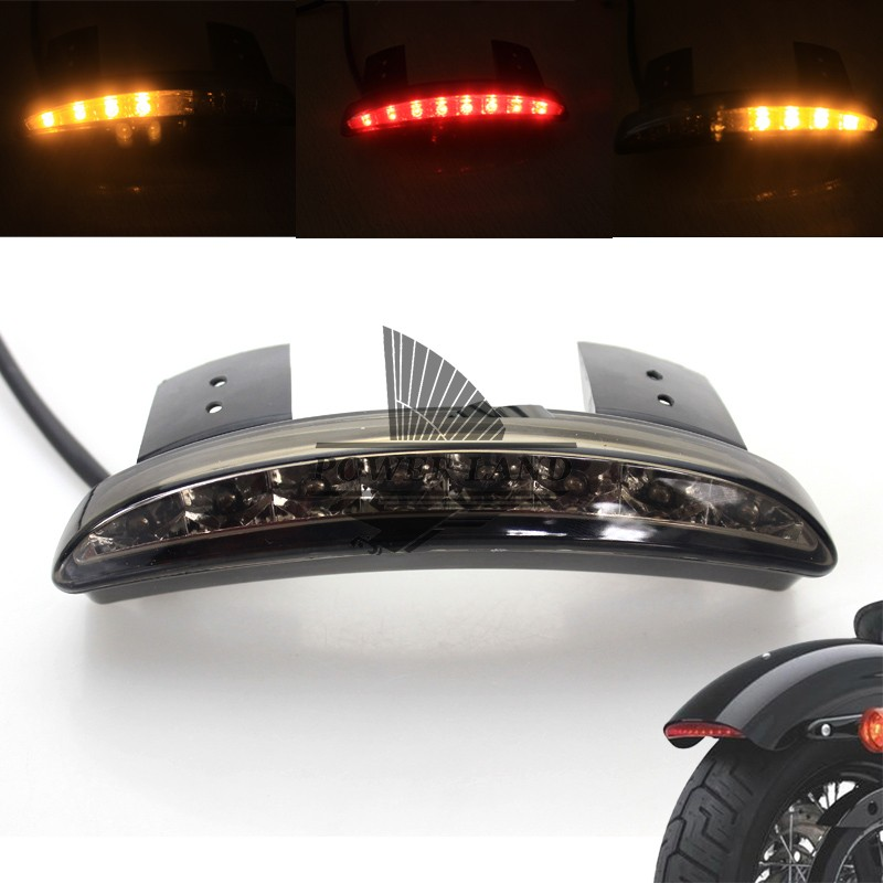New Motorcycle Smoke Lens Rear Fender Edge LED Tail + Turn Signal Light Fits For 2004-2013 Harley Sportster XL883 1200 48 Custom brand new silver color motortcycle accessories abs plastic led tail light fit for harley harley iron 883 xl883n xl1200n chopped