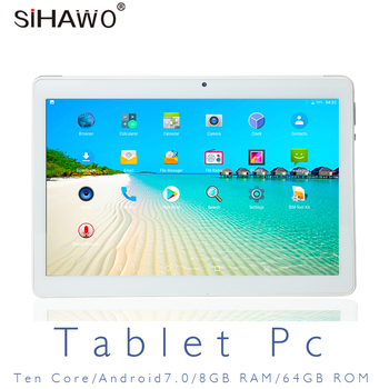 SIHAWO 10.1 Inch Dual SIM 4G Phone Call OTG 10 Core 8GB RAM 64GB ROM Android 8.0 Tablet pc FM WiFi Bluetooth GPS Tablet Tablets 10 1 inch official original 4g lte phone call google android 7 0 mt6797 10 core ips tablet wifi 6gb 128gb metal tablet pc