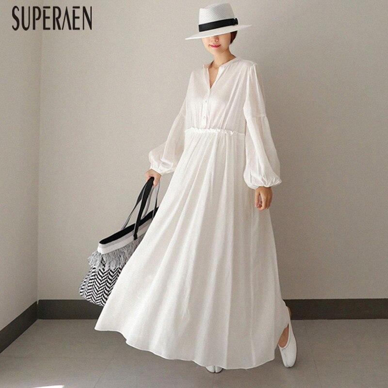 SuperAen Loose Pluz Size Dress Female Korean Style Cotton Solid Color Fashion Women Dress Spring New