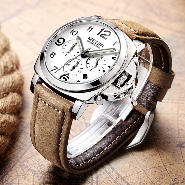 Luxury Brand Quartz Watch Analog Chronograph with Leather Strap