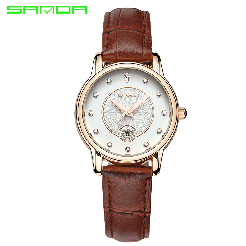 SANDA Fashion Couple Watches Elegant Lady Women Dress Casual Diamond Quartz Watches Waterproof Crystal Wristwatches For Lovers