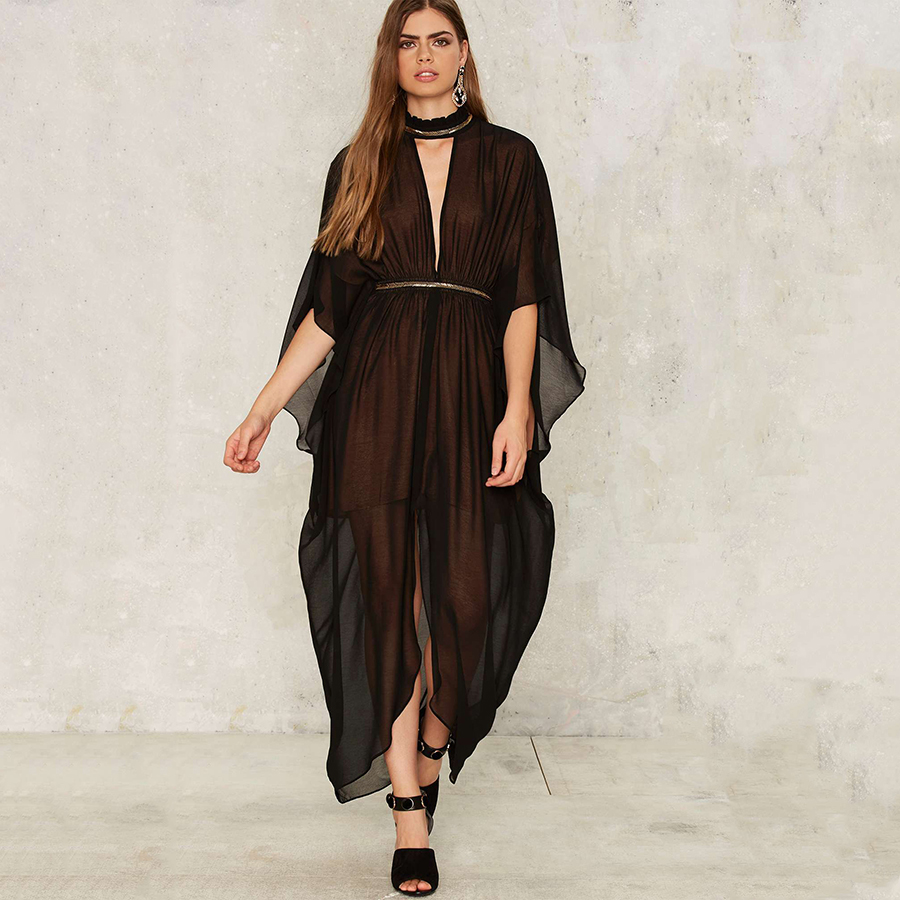 Black dress korean - Long Women Vintage Dresses Summer Elegant Black Dress Office Vestido De Renda Casual Maxi Summer Dresses Jurken Korean 50f0078