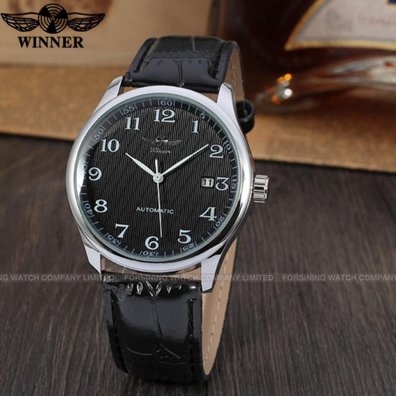 Prix pour T-WINNER Marque Montres Hommes Automatique Mécanique PU Bracelet En Cuir De Luxe D'affaires Montres Hommes à remontage automatique Montre-Bracelet Horloge