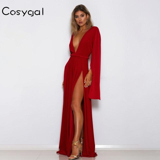 COSYGAL V Neck Solid Long Dress Women Sexy Side Split Long Sleeve High  Waist Dresses 2018 Autumn Casual Female Night Dress 77f40559a3b0