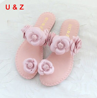 Female Fashion Summer Soft Flats Sandals Camellia Flower Sweet Flip Flops Real Leather Beautiful Flower Slippers