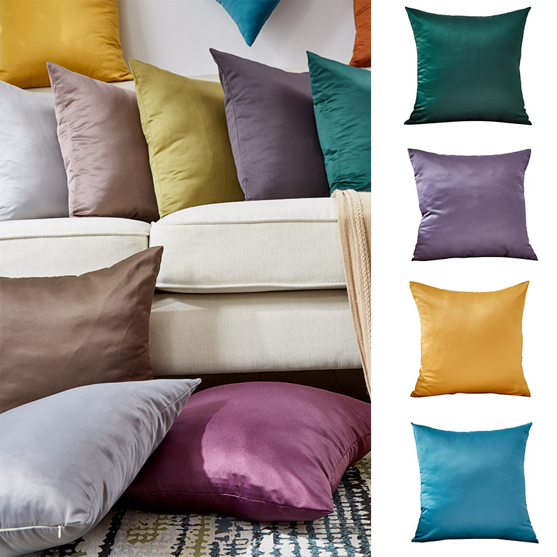 Silk Pillowcase Bedroom Pillow Case Summer Zipper Pillow Cover 45*45 Bedroom Poszewka Nordic Home Solid Color Living Room