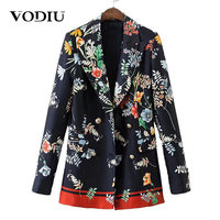 Autumn Women Floral Vintage Blazers 2017 Casual Runway Long Sleeves Pockets Female Jackets Ladies Notched Collar Outwear Coat