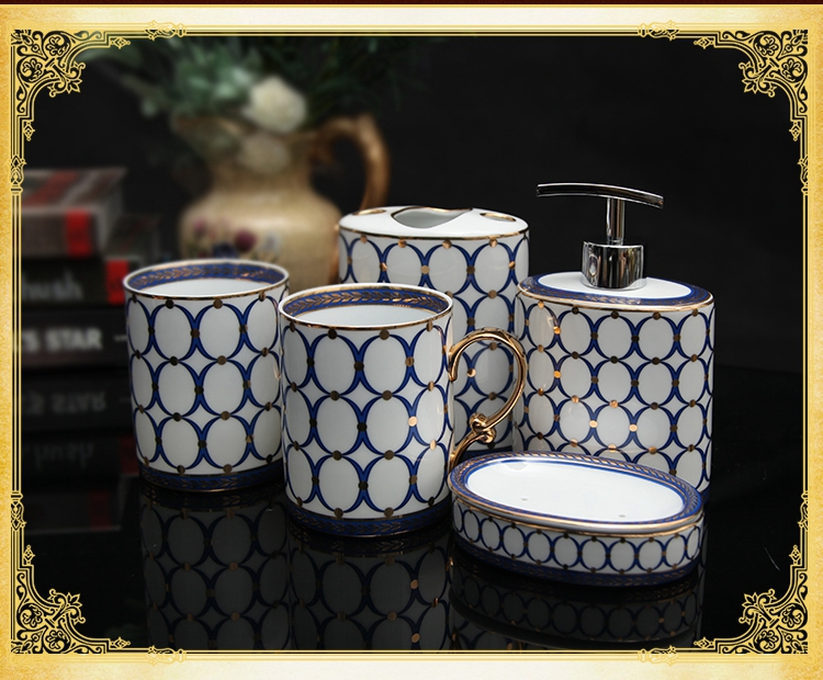 유럽 고전 고급 세라믹 위생 도자기 다섯 조각 슈트 모던 변기 화장실 세차 gargle 컵 + 로션 병 + 요리
