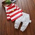 Outfit Clothes Set Suit 2 Pcs Meninas Conjuntos de Roupas de Outono Meninas Listrado Completo Pullover Meninas Novas Crianças Moda 2016 Meninas macacão