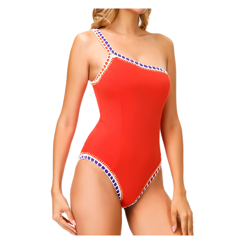 New Arrival Orange Red One Piece Swimsuit Sports Sexy Swimwear Women Shoulder Maillot