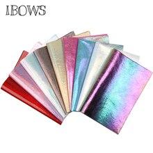 IBOWS 22*30 см искусственная Синтетическая кожа Радуга трещина металл ткань для DIY декоративная одежда бант для волос ручная сумка обувь кожаные листы