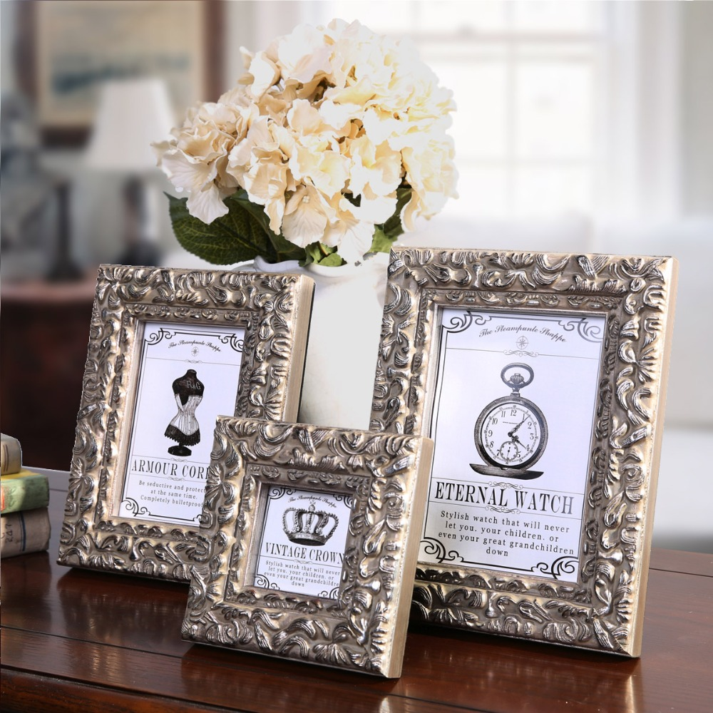 Wedding decoration vintage picture frames wooden foto frames wedding decoration vintage picture frames wooden foto frames modern wall photo frames family square 3 6 7 10 inch creative in frame from home garden on junglespirit Image collections