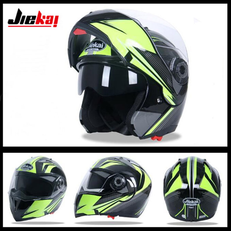 цена на 2017 New JIEKAI Double lens Flip Up Motorcycle helmet JK105 Open Face Motorbike helmets made of ABS have 8 color Size M L XL XXL